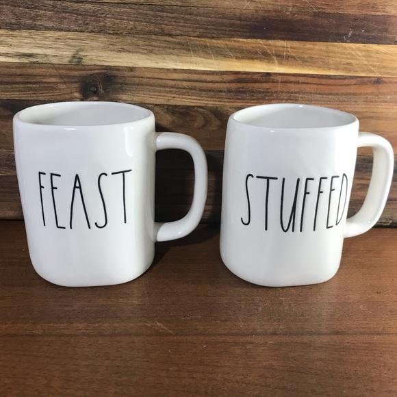Rae Dunn White Ceramic Feast/Stuffed Mug Set